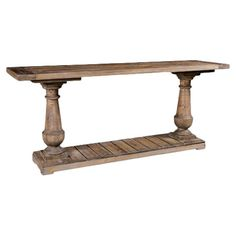 Showcase a vibrant floral arrangement or your latest antique find on this vintage-inspired console table, crafted from reclaimed fir wood for rustic appeal.