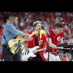 Walk the Moon performs ahead of the Home Run Derby, Monday, July 13, 2015, at Great American Ball Park in Cincinnati. The Enquirer/Kareem Elgazzar