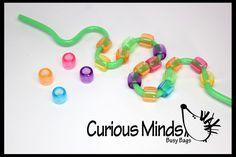 Straw Beading Fine Motor Busy Bag - Toddler Busy Bag, Learning Game, OT