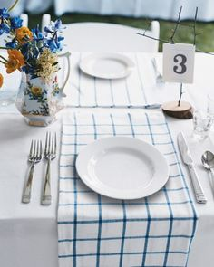 "See the ""Table Settings"" in our  gallery - great idea for the rehearsal dinner"