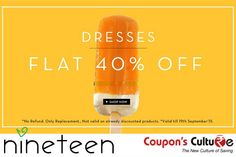 #Shopnineteen #Coupons Flat 40% Off on Women #Dresses. Shop Now !