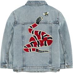 Jean jacket with fancy patches Gucci ❤ liked on Polyvore featuring outerwear, jackets, coats & jackets, gucci, long sleeve denim jacket, long sleeve jean jacket, button jacket, blue jackets and denim jacket