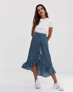 Юбка с запахом и принтом mByM Long Skirt Outfits, Modest Outfits, Chic Outfits, Spring Outfits, Dress Outfits, Casual Dresses, Fashion Dresses, Modest Clothing, Modest Fashion
