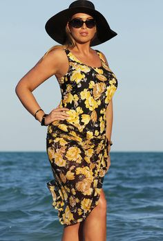 Beach Belle Yellow Floral One Piece with Matching Mesh Sarong