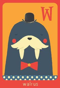 Alfabet print - W - Walrus - Pimpelpluis - https://www.facebook.com/pages/Pimpelpluis/188675421305550?ref=hl - (nursery print illustration kids children art poster dieren kinderen cute illustratie animal alphabet walrus) abc cards