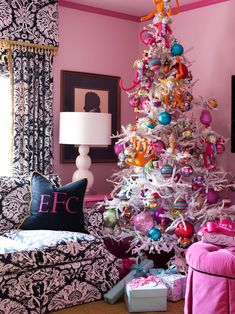 Outstanding Picture Ideas For Your Designer Xmas Trees : Atonishing Designer Xmas Trees As Eclectic Living Room With Color Pink Wall Christmas Tree Ornament Gifts And Efc Cushion