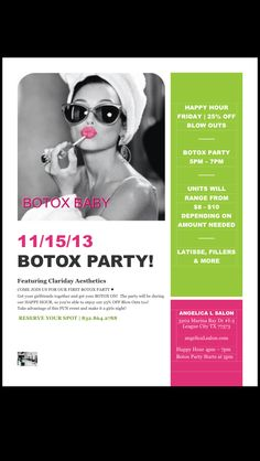 "Maybe to hard hitting?  Not sure ""Botox party"" or Dysport Party sound attractive."
