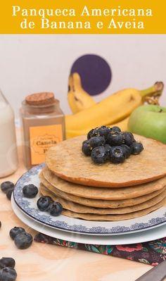 Panqueca Americana Saudável de Banana e Aveia, perfeito para um café da manhã gostoso e equilibrado.