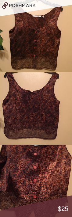 Victoria's Secret metallic/sheer leopard top I really don't want to sell this at all. One of my all time faves--to small & short for my old self now! ☹️. This has wider sleeves but stop at shoulders. Very shiny metallic copper/bronze with tiny black leopard print all over. Low scoop neck with 4 buttons going down front till they stop, then the bottom is 3 inches of sheer see through material goes all the way around with a slit in the front. Want to be looked at? Wear this!!!!! Very HOT…