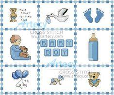 Baby Boy Sampler cross stitch pattern. I like the border idea