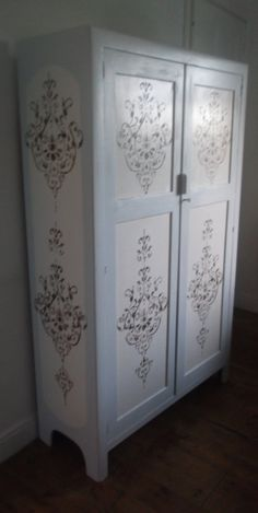 Vintage wardrobe with  hand painted roses & by Furniturefruit