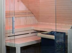 Sauna mit Glasfront unter Dachschräge Deco, Wellness, Infrared Heater, Interior Trim, Hip Roof, Attic Conversion, Decor, Deko, Decorating