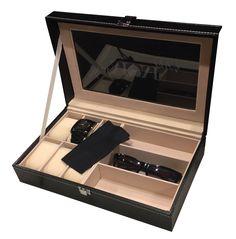 Black Leatherette Sun glass Storage Case Engraved Valet Box