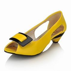 Leatherette Low Heel Closed Toe Pumps With Bow (More Colors) – US$ 29.99
