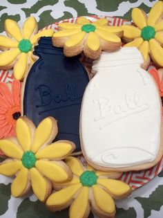 Ball jar and flower cookies by Sugarlily Cookie Co.