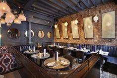 Jue Lan Club restaurant by Dutch East Design, New York City Modern Restaurant, Restaurant New York, Restaurant Interior Design, Cafe Restaurant, Restaurant Interiors, Restaurants, Dining Room Lighting, Unique Lamps, Retail Design