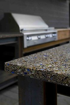 Vetrazzo Charisma Blue with Patina recycled glass countertops Recycled Glass Countertops, Concrete Slab, Bottles And Jars, Craftsman, Glass Art, Recycling, New Homes, Stone, House Ideas