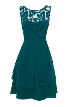 Teal Green Lace Draped Dress Coast London
