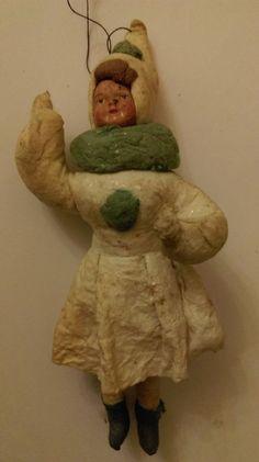 Antique CHRISTMAS spun cotton ornament GIRL in WINTER DRESS  | eBay