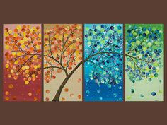 "This is beautiful!  ""365 Days of Happiness II"" (Original Imapsto Acrylic on Stretched Canvas, 48″ x 24″ x 1″)"