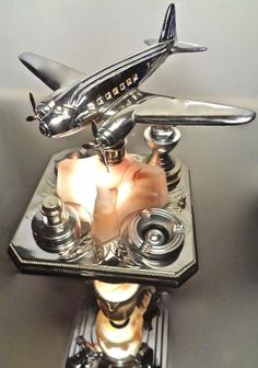 Art Deco Lamp Chrome DC 3 Airplane  Slag Glass Pegasus Ashtray Smoking Stand | eBay