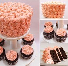 Bolo decorado para festas, com chocolate branco tingido de rosa! Acompanhado com cupcakes!