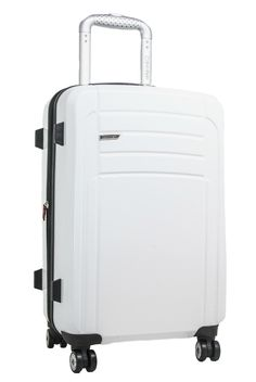 """Toughen up with Calvin Klein's fully loaded Rome Collection.  With a modern & striking design, this expandable 21"""" Hardside Upright packs more, weighs less, and protects your belongings while in transit."""