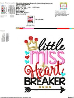 Embroidery design 5x7 6x10 Little Miss Heart by SoCuteAppliques