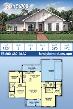 Looking for a budget friendly farmhouse design? This might be the home plan you are looking for. New to Family Home Plans is this 2 bathroom, 1327 sq ft floor plan. Not only does this house House Plans One Story, Family House Plans, New House Plans, Dream House Plans, Modern House Plans, Small House Plans, Dream Houses, Simple Ranch House Plans, House Plans 3 Bedroom