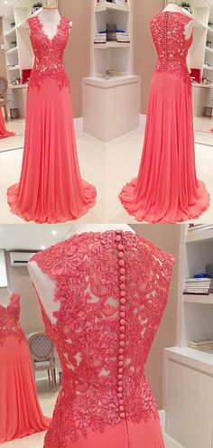 Straps V Neck Lace Chiffon Long Prom Dress Watermelon Formal Party Gown #prom #prom2017 #promdress #promgown #formaldress #formalgown #eveningdress #eveninggown #wedding #weddingpartydress #dress #gown #weddingparty #lacegown