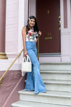 Floral Corset and Bell Bottom Jeans - Kelsey Kaplan Fashion Flare Leg Pants, Flare Jeans, High Rise Pants, Wide Leg Jeans, White Tees, Unique Fashion, Business Women, Bell Bottoms, Bell Bottom Jeans