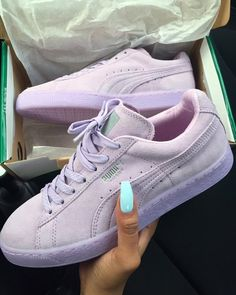 uk availability bba00 88e9a Suede Lavender Pumas Cute Shoes, Sock Shoes, Shoe Boots, Sneakers Style,  Wedge