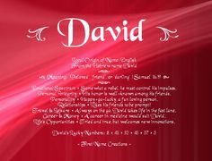David Name Meaning - First Name Creations Love My Husband, My Love, Personal Integrity, Names With Meaning, First Names, Meant To Be, Neon Signs, Relationship