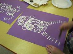 Robot art project.  Great stamping.  Sorry the picture is from Flickr, no instructions or lesson plans, looks pretty simple, however.