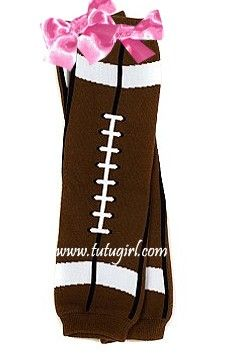 Football Leg Warmers | Baby Legwarmers for Sports with Bows