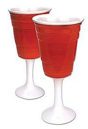 Cool wine glass gifts. A Christmas gift for a tail-gating or Redneck wine lover on your list - Red Solo cup wine glasses -are they just for  redneck wine gifts?