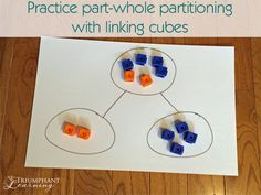 Understanding that one part plus another part equals the whole is an important concept of math. Linking cubes are a fun way to practice this skill.