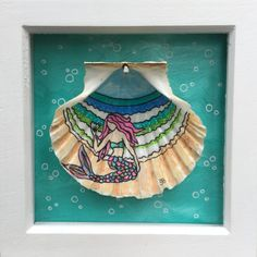 Items similar to SOLD*****SOLD ****Unique framed Mermaid Cornish scallop shell illustration art piece picture surf art surfer on Etsy Seashell Painting, Stone Painting, Painting On Wood, Mermaid Shell, Mermaid Diy, Mermaid Illustration, Hand Illustration, Painted Rocks, Hand Painted