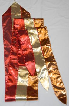 """Sword of Praise Fire Streamers    Starting at: $18.00      Tri-colored fire streamer made with copper, gold, and red lame' has fire-shaped tips. Available in two sizes, made with lame' fabric.  """"His feet were like bronze glowing in a furnace, and his voice was like the sound of rushing waters."""" Revelation 1:15."""