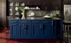 Island in Blue Lagoon on maple  (Kitchen and Bathroom Cabinets | Omega Home)