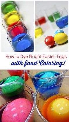 How to Dye Bright Easter Eggs (with food coloring) Wilton paste coloring will work good Easter Egg Dye, Coloring Easter Eggs, Hoppy Easter, Easter Party, Easter Bunny, Easter 2018, Holiday Fun, Holiday Crafts, Holiday Ideas