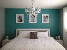Grey and teal bedroom - love this room, so much so that I am going change mine this weekend: