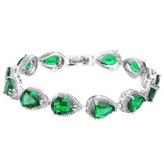 EVER FAITH? Silver-Tone Emerald Color May Birthstone Prong Zircon Tennis Bracelet * Continue to the valentines gift ideas at the image link.