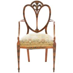 Early 19th Century Hepplewhite Painted Satinwood Armchair | From a unique collection of antique and modern armchairs at https://www.1stdibs.com/furniture/seating/armchairs/