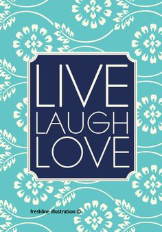Live Laugh Love Navy Blue Art Print 5x7 Art Print by Freshline. For my room :)