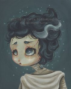 Bride of FRANKENSTEIN fantasy art lowbrow fine art by WhiteStag