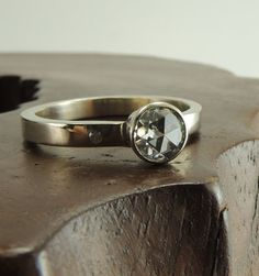 5mm Rose Cut Moissanite 14k White Gold and Diamond Ring, Wedding Ring, Recycled Gold, Handmade, Engagement Ring, Simple Diamond Ring