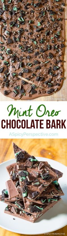 Amazing 3-Ingredient Mint Oreo Chocolate Bark Recipe on ASpicyPerspective.com. Great for holiday parties and edible gifts!