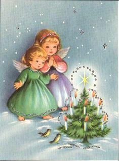 Old Christmas Post Сards — Vintage Vintage Christmas Images, Retro Christmas, Vintage Holiday, Christmas Pictures, Christmas Art, Winter Christmas, Old Time Christmas, Christmas Scenes, Christmas Angels