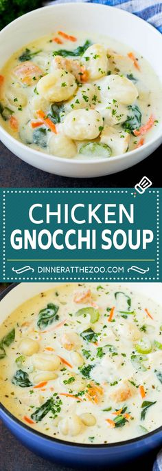 This chicken gnocchi soup is a hearty and creamy blend of diced chicken, vegetables and potato gnocchi, all simmered together to perfection. Chicken Gnocchi Soup, Diced Chicken, Cheeseburger Chowder, Yummy Treats, Soup Recipes, Soups, Pizza, Potatoes, Meals
